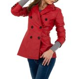 Trendy rode leatherlook jas._