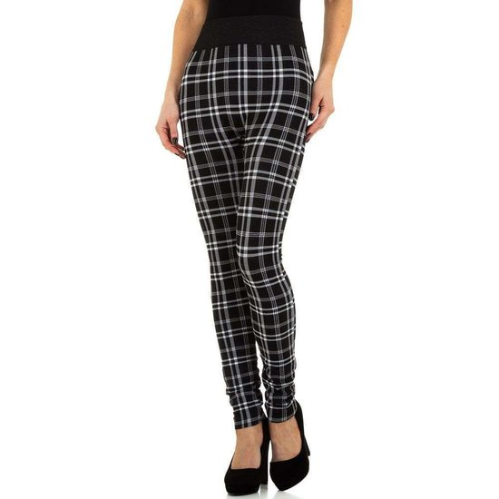 Trendy geruite legging zwart/wit.