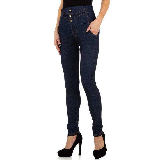 Trendy legging in jeanslook blauw.