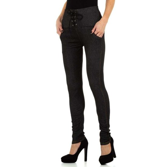 Fashion legging zwart in jeanslook.