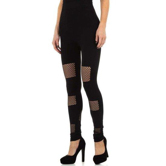 Zwarte legging met gaas.