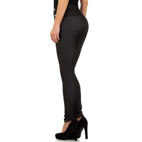 Legging in jeanslook zwart.