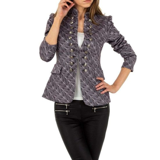 Trendy grijze blazer.