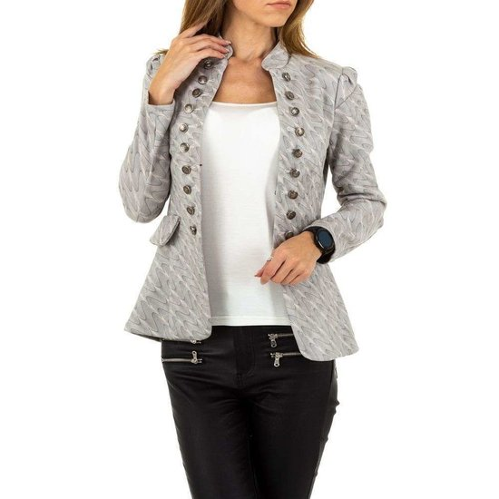 Trendy  licht grijze blazer.