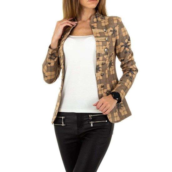 Trendy beige geruite blazer.