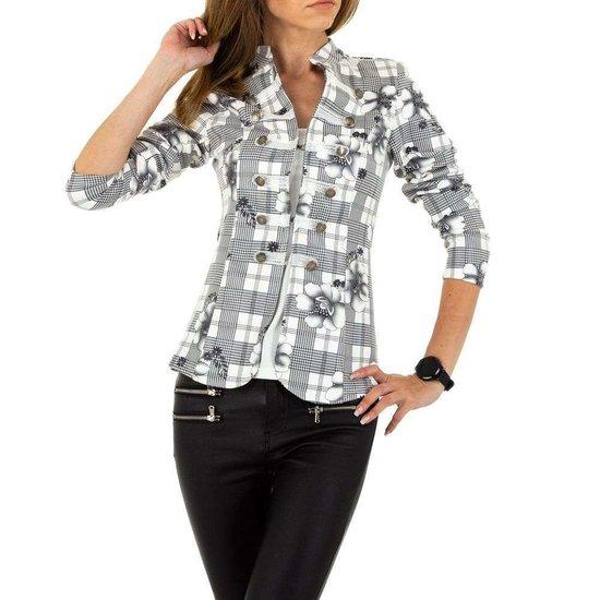 Trendy  wit/zwarte geruite blazer.