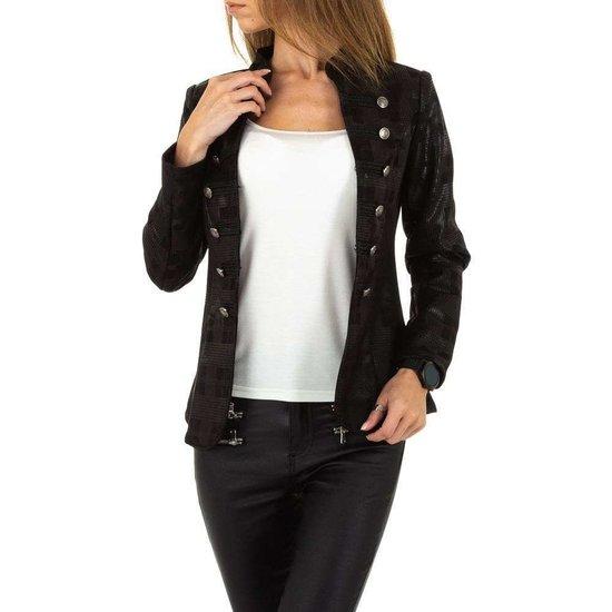 Trendy zwarte geruite blazer.