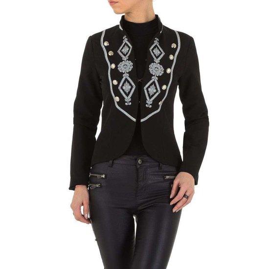 Trendy korte zwarte blazer.