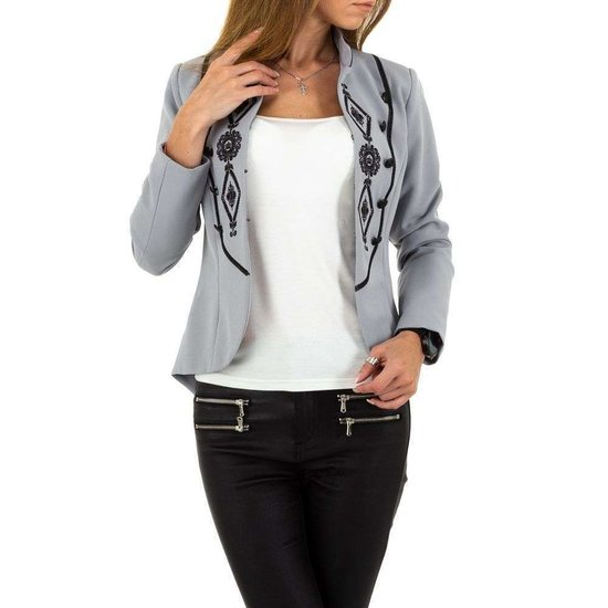 Trendy korte grijze blazer.