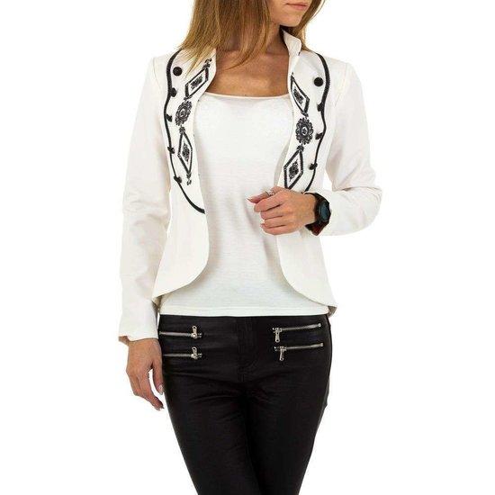 Trendy korte witte blazer.