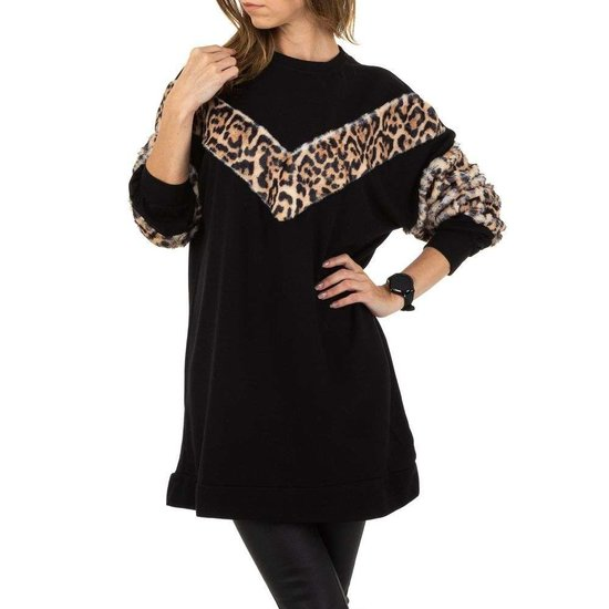 Zwarte trui jurk met print.SOLD OUT