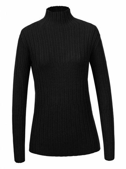 Zwarte basic pullover in maille.