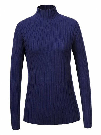 Blauwe basic pullover in maille.
