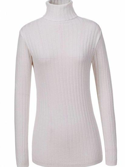 Basic witte pullover met rolkraag.