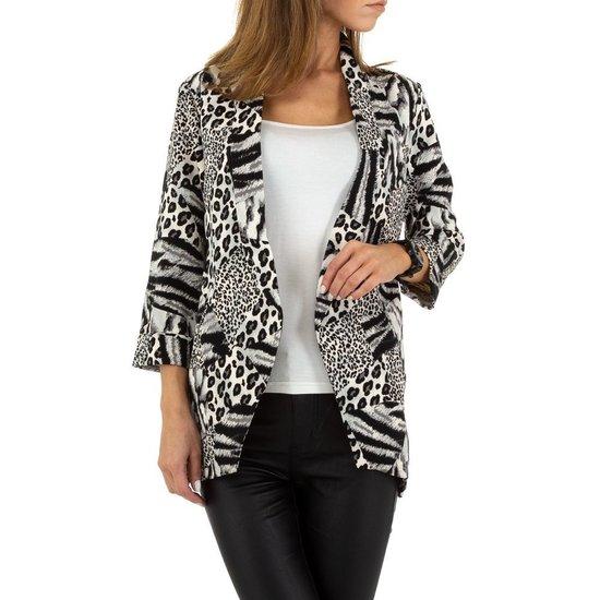 Trendy blazer in grijze luipaard print.