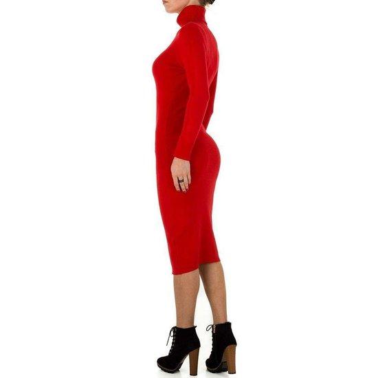 Sexy lange rode trui-jurk.