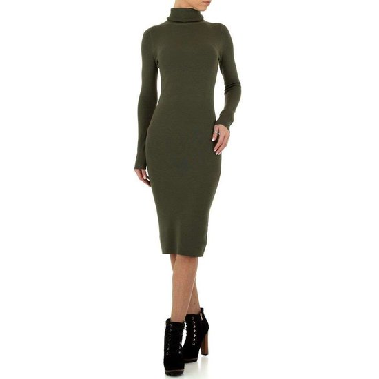 Sexy lange groene trui-jurk.  SOLD OUT