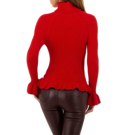Rode pullover met trompet mouwen.SOLD OUT