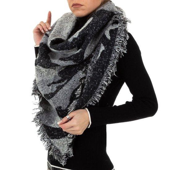 Modieuze zwart/grijze sjaal.