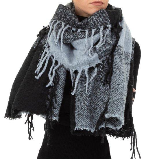 Modieuze grijs/zwarte sjaal.