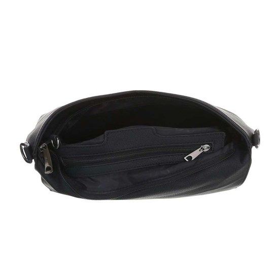 Trendy zwarte rechthoekige schoudertas.