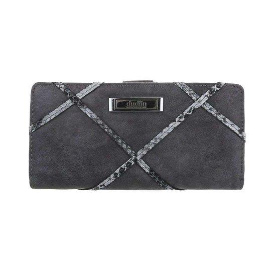 Trendy grijze portemonnee met detail van slangenprint.