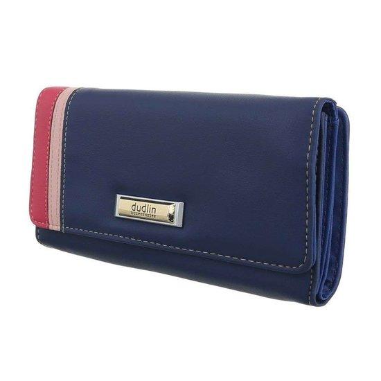 Blauwe portemonnee met kleurendetail.