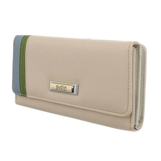 Beige portemonnee met kleurendetail.