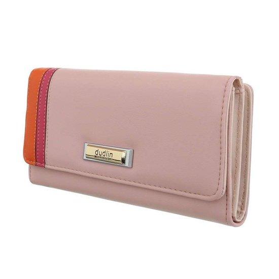 Rose portemonnee met kleurendetail.