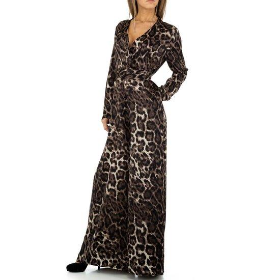 Jumpsuit in grijze leopard print.