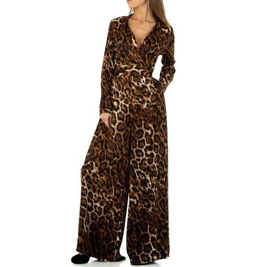 Jumpsuit in bruine leopard print.