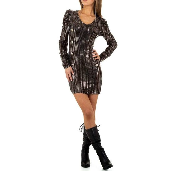 Korte kaki jurk met sequins
