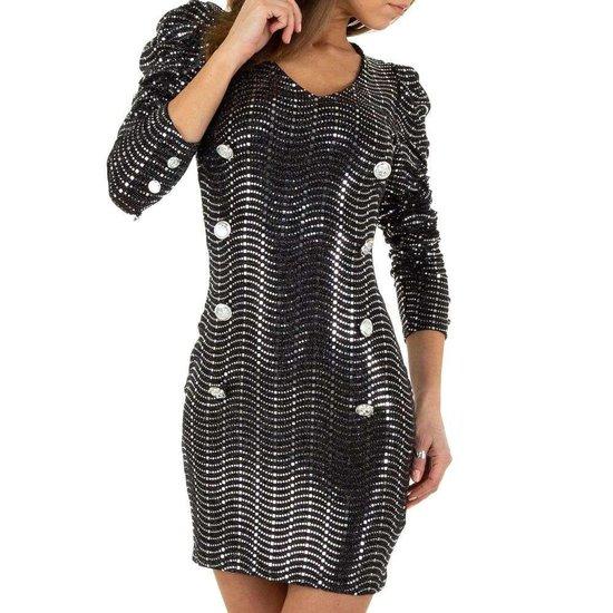 Korte zilveren jurk met sequins
