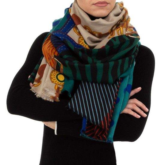 Sjaal groen met mix.