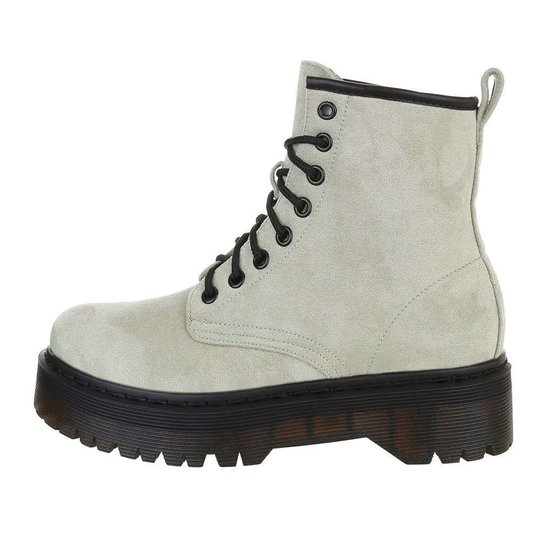 Groene hoge veterboot Hana in daim.SOLD OUT