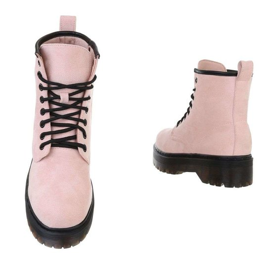 Rose hoge veterboot Hana in daim.SOLD OUT