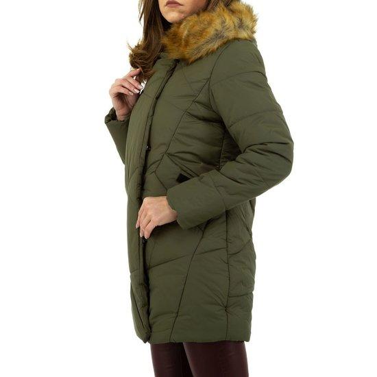 Warme groene gewatteerde jas.