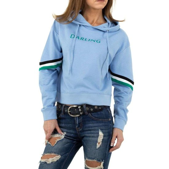 Trendy blauwe sweatshirt.