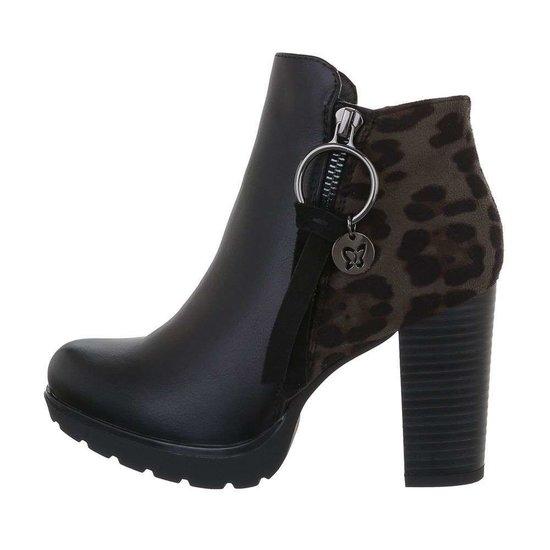Stylish zwart grijs luipaardprint enkellaarsje Pam.
