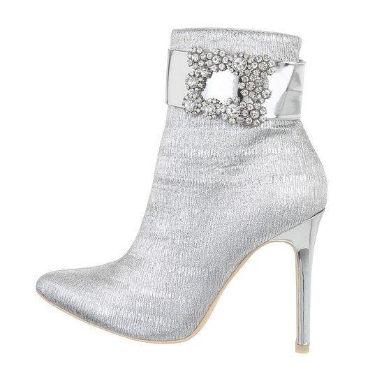 Trendy zilver enkellaarsje Paulina.