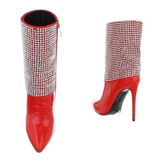 Fashion rood enkellaarsje Danielle.
