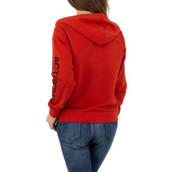Rode sweatshirt met rits.