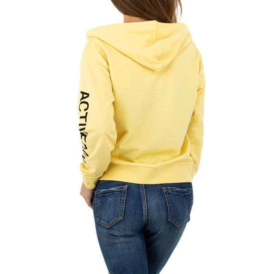Gele sweatshirt met rits.