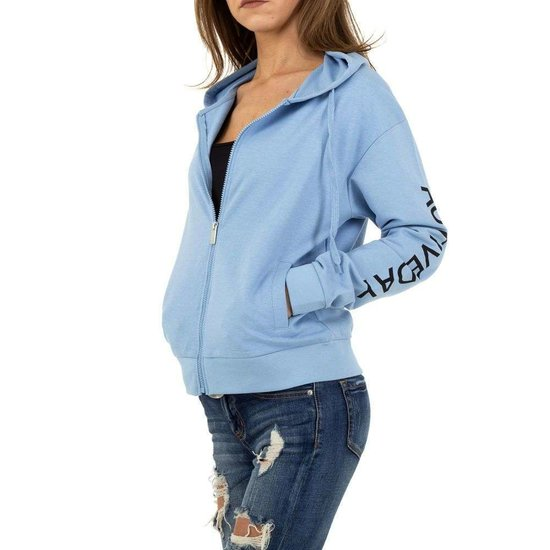 Blauwe sweatshirt met rits.