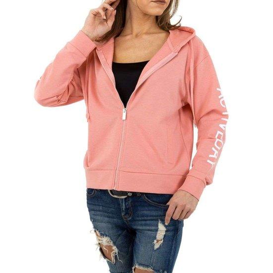 Rose sweatshirt met rits.