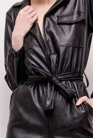 Zwarte leatherlook jumpsuit.SOLD OUT