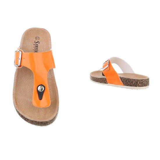 Lage oranje sandaal Sare.