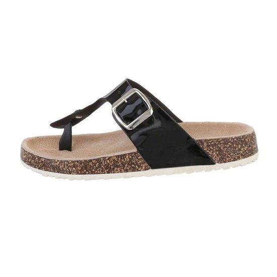 Lage zwarte sandaal Sare.