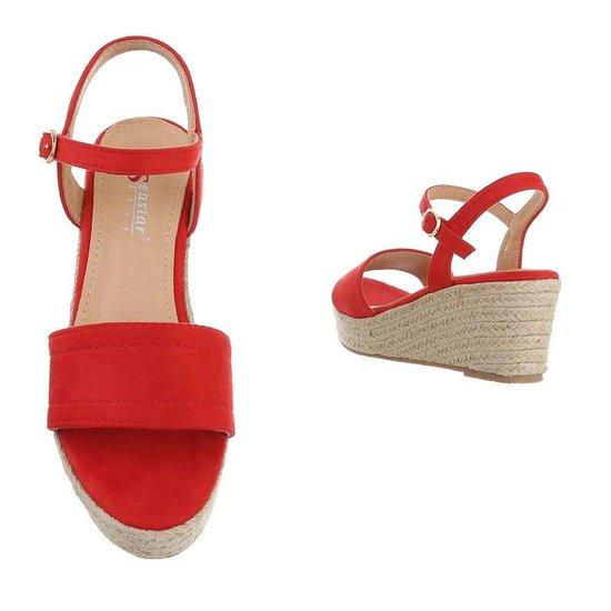 Rode halfhoge sandaal Soula.