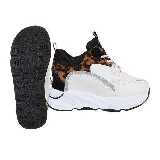 Fashion hoge wit/leopard sneaker Sirina